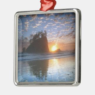Second Beach, La Push puesta de sol, Adorno Cuadrado Plateado