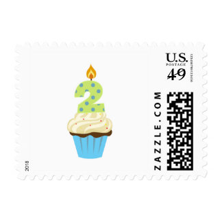 Second birthday blue cupcake postage / boy two