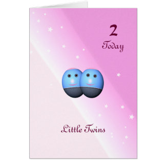 Second Birthday Card for Twin Girls