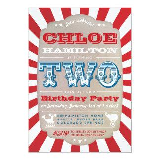 Second Birthday Circus Carnival Party Invitation