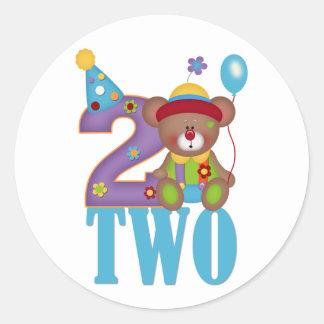 Second Birthday, Clown Bear Classic Round Sticker