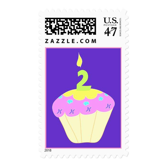 Second Birthday Cupcake Stamp - Purple