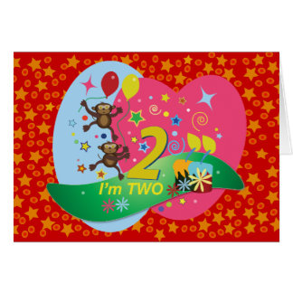 Second Birthday: Cute and Fun, Two Monkeys Card