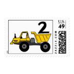 Second Birthday Dumptruck Postage Stamp