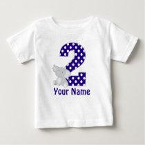 Second Birthday Elephant Navy Personalized Shirt