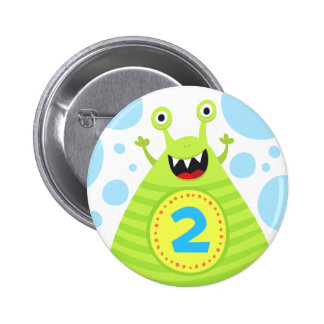 Second birthday funny green monster pinback button