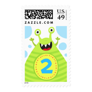 Second birthday funny green monster postage stamp