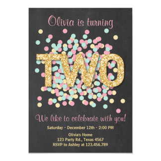 Second Birthday Invitation Girl Pink Gold Mint Two