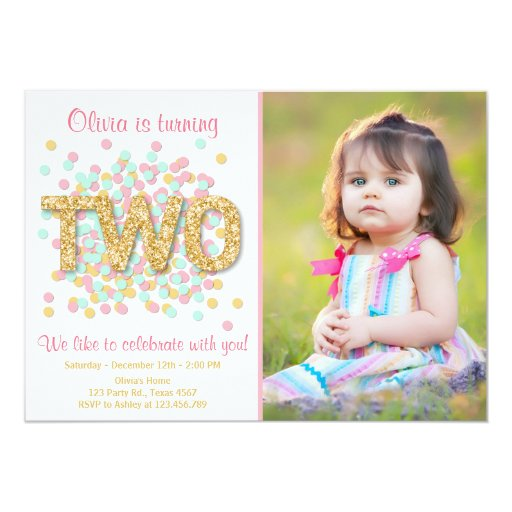 Personalised New Baby Or Birthday Card By Mint Nifty: Second Birthday Invitation Girl Pink Gold Mint Two