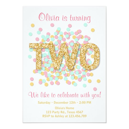 First Birthday Party In A Box In Gold Mint And Pink: Second Birthday Invitation Girl Pink Gold Mint Two