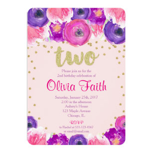 Pink and gold 2nd birthday invitations zazzle second birthday invitation girl pink purple gold filmwisefo