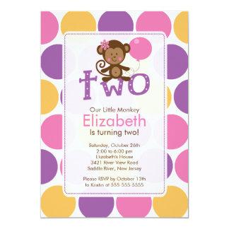 "Second Birthday Little Monkey Birthday Invitation 5"" X 7"" Invitation Card"