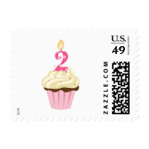 Second birthday pink cupcake postage / girl two