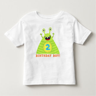 Second birthday shirt with funny, green monster