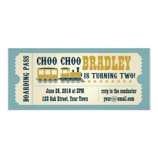 Second Birthday Train Ticket Invitation