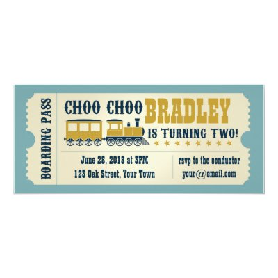 Vintage Train Ticket Birthday Party Card Zazzlecom