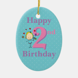 Second Birthday, Two Year Old, Girl Ceramic Ornament