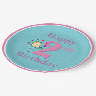 Second Birthday, Two Year Old, Girl Paper Plate