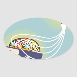 Second Brain Connected Illustration Oval Sticker