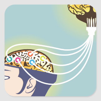 Second Brain Connected Illustration Square Sticker
