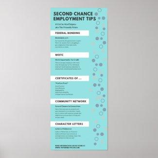 Second Chance Employment Tips Felon Friendly Info Poster