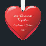 "Second Christmas Together Cute Heart 2019 Red Ornament<br><div class=""desc"">Designed for Christmas 2019,  this is designed with cute romantic red heart design in solid red background and personalized text templates for entering your names. Perfect romantic gift for couple celebrating their 2nd Christmas together.</div>"