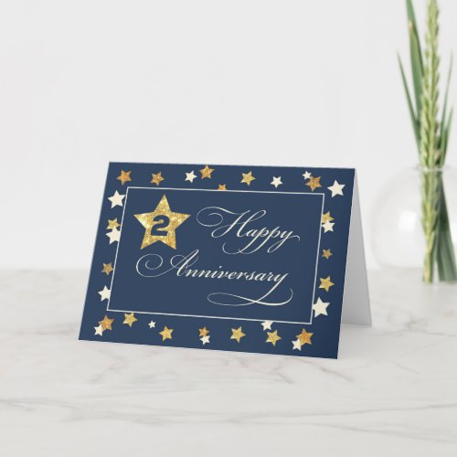 Second Employee Anniversary Navy Gold Effect Stars Card