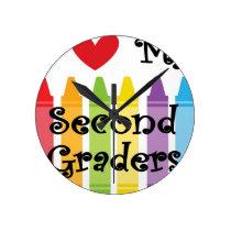 second grade teacher2 round clock
