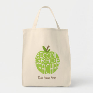 Second Grade Teacher Bag - Green Apple