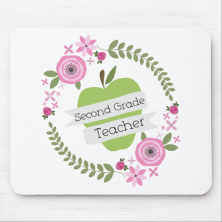 Second Grade Teacher Floral Wreath Green Apple Mouse Pad