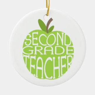 Second Grade Teacher Green Apple Ornament