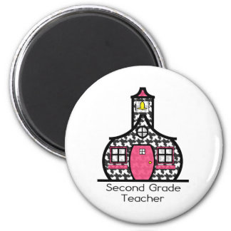 Second Grade Teacher Houndstooth Schoolhouse 2 Inch Round Magnet