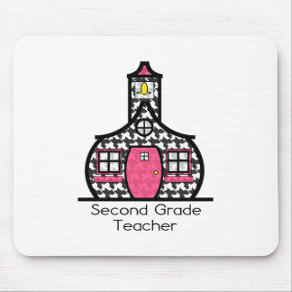 Second Grade Teacher Houndstooth Schoolhouse Mouse Pad
