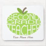 Second Grade Teacher Mousepad - Green Apple