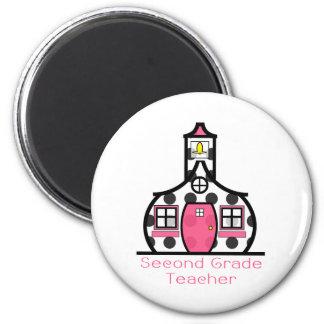 Second Grade Teacher Polka Dot Schoolhouse 2 Inch Round Magnet