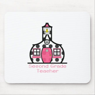 Second Grade Teacher Polka Dot Schoolhouse Mouse Pad
