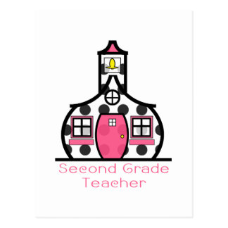 Second Grade Teacher Polka Dot Schoolhouse Postcard