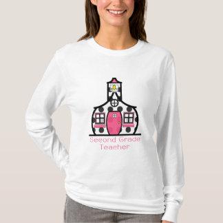 Second Grade Teacher Polka Dot Schoolhouse T-Shirt