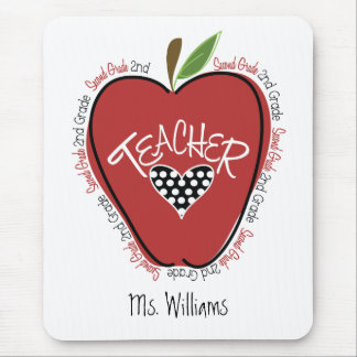 Second Grade Teacher Red Apple Mouse Pad