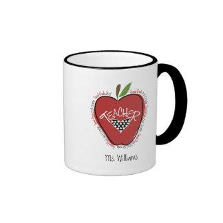 Second Grade Teacher Red Apple Ringer Mug