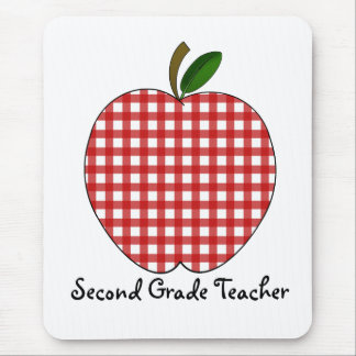 Second Grade Teacher Red Gingham Apple Mouse Pad