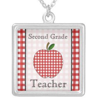 Second Grade Teacher Red Gingham Apple Necklace