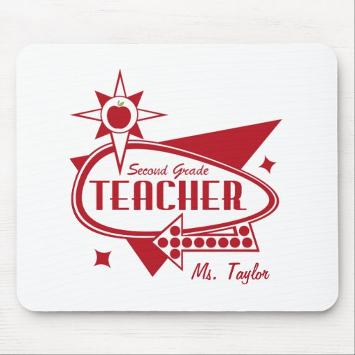 Second Grade Teacher Retro Red 60's Inspired Sign Mouse Pads