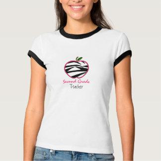 Second Grade Teacher Shirt - Zebra Print Apple