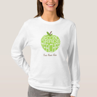 Second Grade Teacher T Shirt - Green Apple