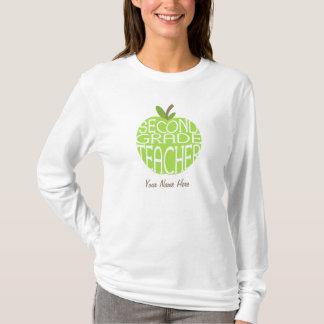 Second Grade Teacher T Shirt - Green Apple
