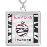 Second Grade Teacher Zebra Print Apple Necklace