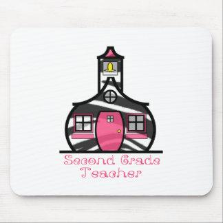 Second Grade Teacher Zebra Print Schoolhouse Mouse Pad