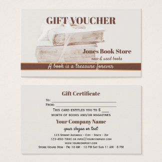 Second Hand and Used Books Gift Voucher Template Business Card