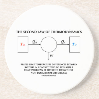 Second Law Of Thermodynamics (Physics) Work Drink Coaster
